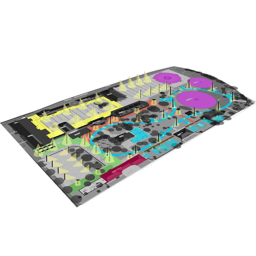 Ein Masterplan ist ein Leitfaden, der die Rahmenbedingungen zukünftiger Planungen und Entwicklungen rund um das Thema Licht für Städte festlegt. Beispiel Gaswerk Augsburg Lichtplanung